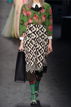 Gucci - Pleated Printed Silk Crepe De Chine Midi Skirt - Black - IT