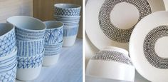 Handmade gift idea. Decorate plain white dishes with a porcelain pen.