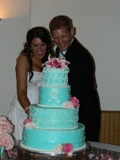 "Tiffany blue wedding cake, with a ""B"" of course!"