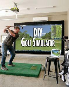 Golf Simulator » Rogue Engineer #indoorgames #golfsimulator #diygame #diygolfsimulator #homediy #indoorproject #diygameproject Diy Game, Insulation Board, Diy Home Crafts, Man Crafts, Golf Simulators, Carpet Padding, Wood Screws, Diy Wood Projects, Golf Tips