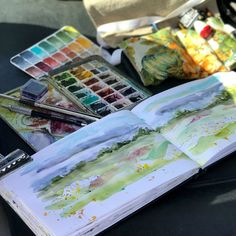 When the family says the rain has cleared, it's fishing time and you've got five minutes to get in the buggy, you pack your stuff really fast. This is why I keep my handmade palettes and travel sketch roll filled and ready to go at all times. I always clean my brushes, refill water bottles and have all my plein air supplies in one spot. #pleinair #watercolor #watercolorpalette #watercolorlandscape