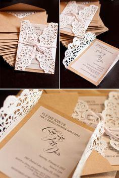 Lace doily diy wedding invitations diy vintage weddings vintage doily wrapped invites with brown envelope stopboris Choice Image
