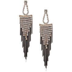 Chain Fringe Earrings Rhinestone Linear Long Dangle Earrings Teardrop ($6.95) via Polyvore