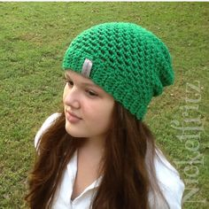 A personal favorite from my Etsy shop https://www.etsy.com/listing/242945196/the-green-beanie-slouchy-hat-by