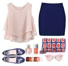 A fashion look from March 2017 featuring pink top, short skirts and flat shoes. Browse and shop related looks. Karen Walker, Pink Tops, Nyx, Short Skirts, Boohoo, Chanel, Fashion Looks, Summer, Polyvore