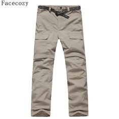 Daily Sale $16.99, Buy Facecozy Men Summer&Spring Quick Drying Hiking&Trekking Pants Male Removable Camping Pants & Outdoor Ultra-thin Trousers