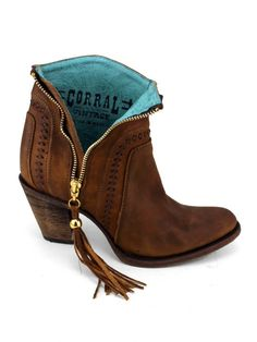 Ladies Corral Shorty Zippered Fringe Boot