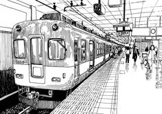 Japan metro train station platform in Osaka drawing ink sketch s - Buy this stock illustration and explore similar illustrations at Adobe Stock Train Drawing, City Drawing, Beach Drawing, Perspective Sketch, One Point Perspective, Ink Pen Drawings, Drawing Sketches, Drawing Ideas, Sketch Ink