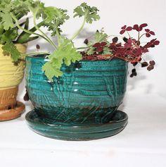 Hand Thrown Planter in Jade Green Glazed by virginiawyoming, $42.50