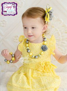 Yellow & Gray Flower DIY Chunky Necklace Kit girls FINISHED chunky necklace Bracelet options girls chunky necklace