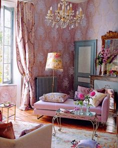 Perfect Princess Room in Antique Pink-  Love the wallpaper, teal door, and of course the chandelier! Great space for a little gossip time with the girls ;-)