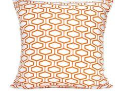 Orange Geometric Pillow Cover Modern Retro Decorative Repurposed 18x18. $20.00, via Etsy.