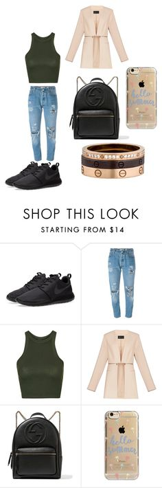 """#cool"" by seldy-enes ❤ liked on Polyvore featuring NIKE, Levi's, Topshop, BCBGMAXAZRIA, Gucci, Agent 18, Cartier, romwe, polyvorecontest and shein"