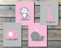 Pink and gray chevron set for a little Princess! Lion, giraffe, monkey and zebra. Each of the animals have eyelashes!! So cute!!