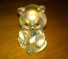 Fenton Art Glass December Birthstone Bear Figurine Iridescent Hand Signed QVC