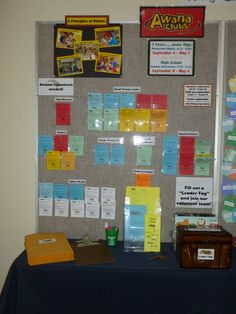 Awana Recruiting - This bulletin board is a permanent fixture in our church foyer. We use it for all kinds of events. This is how I set it up for recruiting Awana leaders.