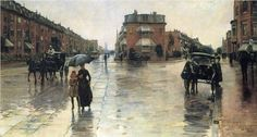 """""""A Rainy Day in Boston"""" by Frederick Childe Hassam (1859-1935), American Impressionist Painter."""