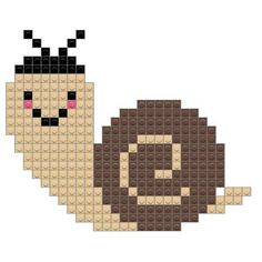 Snail Cross Stitch Owl, Cross Stitch Animals, Cross Stitch Designs, Cross Stitching, Cross Stitch Patterns, Pixel Art, Pixel Crochet, Fuse Bead Patterns, Motifs Animal