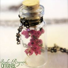 Bonnie Wee Lass Necklace - Flowers of Heather in a Tiny Bottle  from Studio Regency on Etsy $35 #garnethill #summerstyle