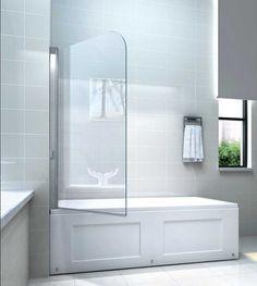 Glas duschwand für badewanne gestaltung mit pendeltechnik und glas beschichtung zur leichten reinigung inklusive neu badewannenfaltwand glas design auf badezimmer dekoration Baden, Alcove, Bathroom Ideas, Bathrooms, Dekoration, Bathrooms Decor