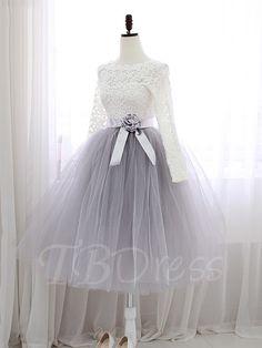 A-Line Jewel Neck Lace Sashes Tea-Length Prom Dress - m.tbdress.com