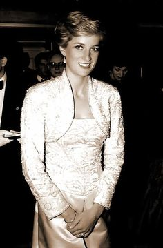 """February 3, 1989: Princess Diana at the Brooklyn Academy of Music to see the Welsh National Opera Gala production of """"Falstaff""""."""