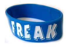 Are you a control freak?...... Funky rubber wristband. With the 'Control Freak' print. 2.5cm wide and 8.5cm in diameter. Make your statement today, and get one of these wicked wristbands that look great too!