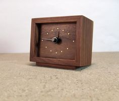 Wooden clock with inlaid hour markers by offcutstudio on Etsy