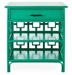 Place this gorgeous emerald green Chinoiserie nightstand next to your bed for an exotic dose of color and style.