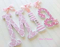"6"" Custom Wooden Nursery Letters, Mia's Theme, Nursery, Wall, Decor, Kid's Room, Personalized Nursery Name Decor, Baby Shower Gift"