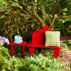 a Fairy Table and Bench! This wooden craft stick fairy table and bench is a classic addition to your fairy furniture collection.This wooden craft stick fairy table and bench is a classic addition to your fairy furniture collection. Popsicle Stick Crafts, Popsicle Sticks, Craft Stick Crafts, Wooden Craft Sticks, Wooden Crafts, Wooden Diy, Diy Wood, Rustic Wood, Mini Fairy Garden