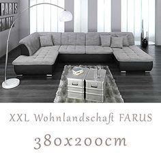 http://ift.tt/1Ih4PP0 Wohnlandschaft Couchgarnitur XXL Sofa U-Form schwarz/grau Ottomane links ! salesviiko@