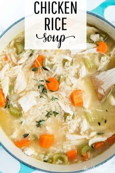 Chicken and Rice Soup - A comforting and delicious one-pot meal that the whole family will love! Makes the perfect soup recipe for chilly weather! #soup #soups #winter #winterrecipes #comfortfood #comfort #onepot #stove #crockpot #chicken #rice #easyrecipe #recipes #iheartnaptime