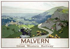 Malvern Hills, Worcestershire. GWR Vintage Travel poster by Graham Petrie.16