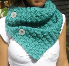Button Up Cowl Neckwarmer Scarf in Teal Bamboo by MegansMenagerie