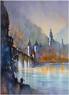Alte Brucke - Heidelberg by Thomas Schaller Watercolor City, Watercolor Sketch, Watercolor Artists, Watercolor Landscape, Watercolor Illustration, Landscape Paintings, Watercolor Paintings, Watercolors, Watercolor Portraits