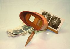 ANTIQUE 'HOLMES' STEREOSCOPE + STEREOVIEW CARDS - PARAGONSCOPE, KEYSTONE