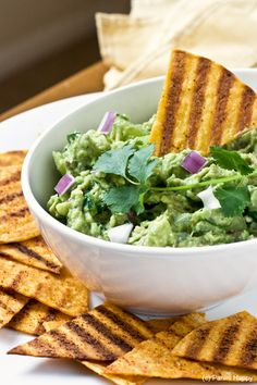 Grilled Tortilla Chips with Grilled Tomatillo Guacamole from Panini Happy