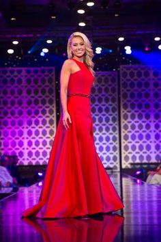 Wesley Mitchell Miss South Carolina Teen USA 2015 Gown -  South Carolina's Wesley Mitchell, got the call on finals night at the Miss Teen USA pageant, and rightfully so. A chic, streamlined gown in a bold color helped her stand out among the other contestants.