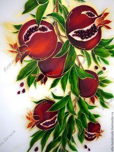 Купить Картина на стекле Зерна сочные граната - бордовый, красный, гранатовый, гранат, картина
