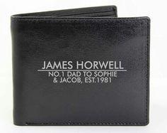 Black leather personalised wallet