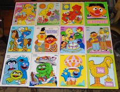 12 Vintage Playskool Wood Sesame Street Puzzles Big Bird Bert