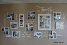 Our Family is vinyl lettering - idea for living room wall Displaying Family Pictures, Family Pictures On Wall, Display Family Photos, Room Pictures, Hanging Pictures, Photo Wall Decor, Hanging Posters, Vinyl Crafts, Vinyl Lettering