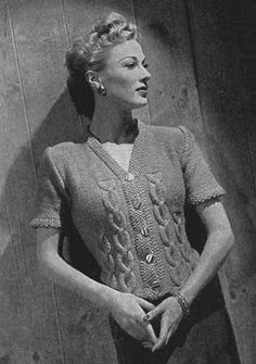 Items similar to PDF Knitting Pattern Cable Cardigan Vintage 1942 on Etsy Vintage Knitting, Vintage Crochet, Cable Cardigan, Cable Knit, Look Retro, Sweater Knitting Patterns, Knitting Ideas, Fair Isles, Vintage Sweaters