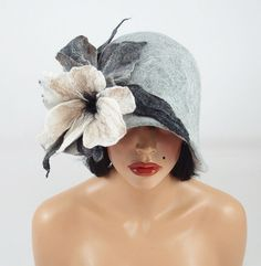 Felted Hat Cloche Hat grey Flapper hat LA BELLE EPOQUE wearable art art deco wool felt nunofelt nuno felt silk on Etsy, $199.00