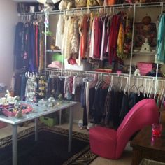 One wall of my closet. I turned a spare bedroom into a closet!