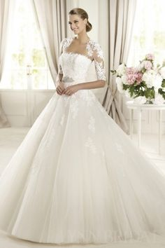 Princess Strapless Chapel Train Lace Tulle Wedding Dress with Jacket   LynnBridal.com