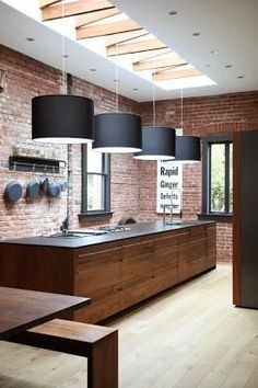 Elegant Open Kitchen with Natural Interior Lighting Systems: Bold Natural Touch For Lovell Kitchen Design Combining Exposed Brick Wall With Wooden Rectangular Island With Four Modern Black Pendant Lamps Küchen Design, Deco Design, House Design, Design Ideas, Design Inspiration, Brick Design, Kitchen Inspiration, Interior Inspiration, Design Room