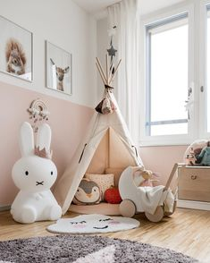 We just love this gorgeous kid's play corner by 👈🏻 Cam Cam Rainbow mobile, Miffy lamp and Ooh Noo Toy Pram are all available in our online store 💕 . Blue Teen Girl Bedroom, Baby Bedroom, Nursery Room, Girl Nursery, Childrens Room Decor, Baby Room Decor, Kids Play Corner, Miffy Lamp, Kids Room Design
