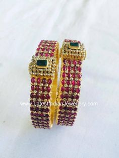 Ruby Bangles with Uncuts